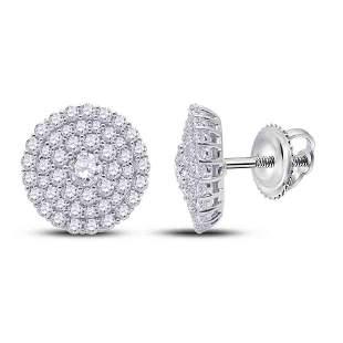 14kt White Gold Womens Round Diamond Cluster Earrings 1