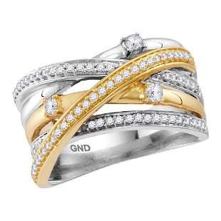 14kt Two-tone White Yellow Gold Womens Round Diamond