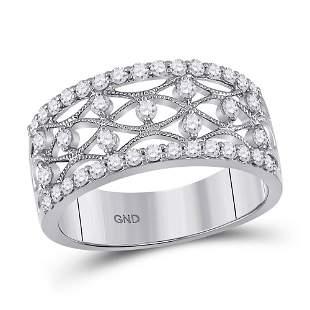 14kt White Gold Womens Round Diamond Band Ring 5/8 Cttw