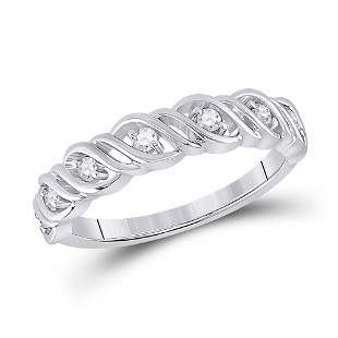 14kt White Gold Womens Round Diamond Band Ring 1/5 Cttw