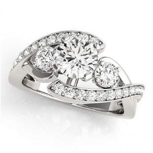 Natural 2.01 ctw Diamond Bypass Ring 14k White Gold