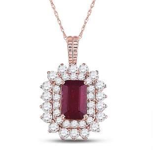 14kt Rose Gold Womens Emerald Ruby Diamond Halo Pendant
