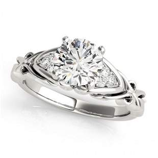 Natural 1.35 ctw Diamond SolitaireRing 14k White Gold