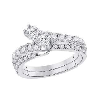 14kt White Gold Round Diamond 2-stone Bridal Wedding