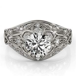 Natural 1.12 ctw Diamond Antique Ring 14k White Gold