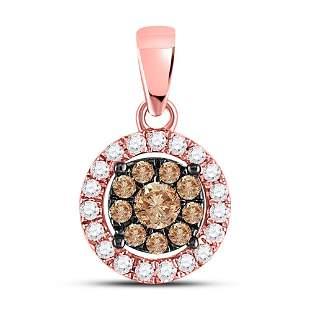 14kt Rose Gold Womens Round Brown Diamond Circle