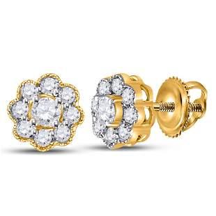 14kt Yellow Gold Womens Round Diamond Flower Cluster