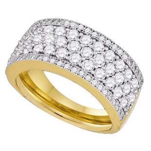 14kt Yellow Gold Womens Round Diamond Band Ring 1-5/8