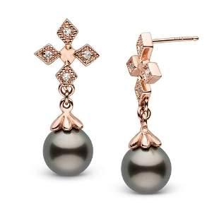 Black Tahitian Pearl and Diamond Cross Earrings