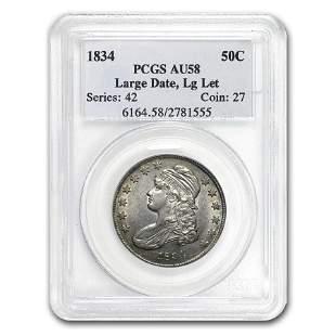 1834 Capped Bust Half Dollar Lg Date/Lg Letters AU-58
