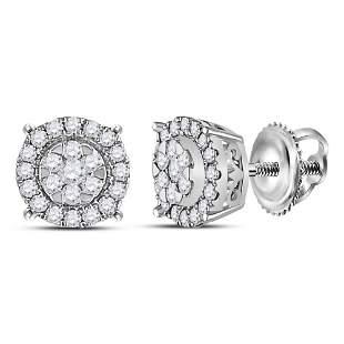 14kt White Gold Womens Round Diamond Circle Halo