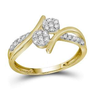 14kt Yellow Gold Round Diamond Double Cluster Bridal