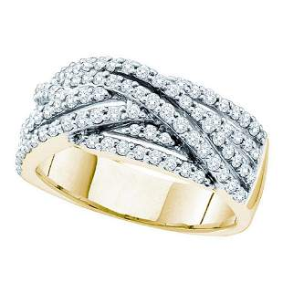 14kt Yellow Gold Womens Round Diamond Crossover Band