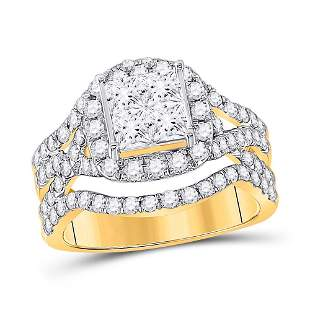 14kt Yellow Gold Princess Diamond Cluster Bridal