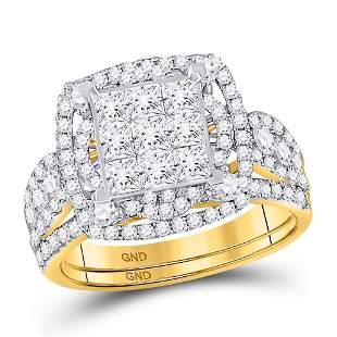 14kt Yellow Gold Princess Diamond Bridal Wedding Ring
