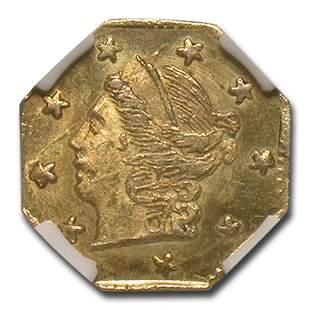 1870 Liberty Octagonal 25 Cent Gold Gold MS-64 NGC