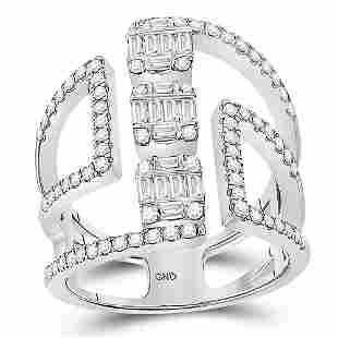 14kt White Gold Womens Baguette Round Diamond Negative