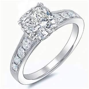 Natural 1.92 CTW Cushion Cut w/ Milgrain Detail Diamond
