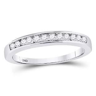 14kt White Gold Womens Round Diamond Wedding Channel