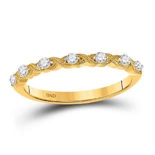14kt Yellow Gold Womens Round Diamond XOXO Stackable