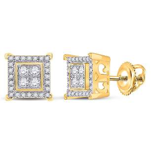 14kt Yellow Gold Mens Round Diamond Square Earrings 1/3