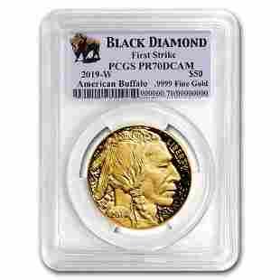 2019-W 1 oz Proof Gold Buffalo PR-70 PCGS (FS, Black