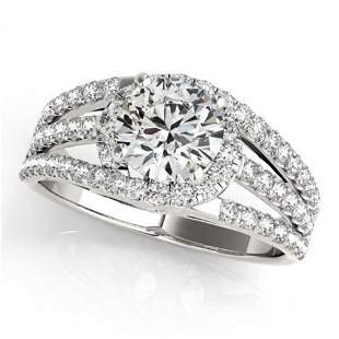 Natural 1.25 ctw Diamond Solitaire Ring 14k White Gold