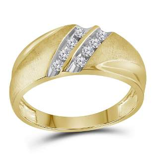 14kt Yellow Gold Mens Round Diamond 2-Row Wedding Band