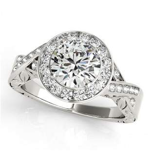 Natural 1.75 ctw Diamond Solitaire Halo Ring 14k White