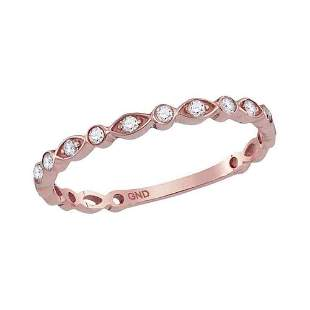 14kt Rose Gold Womens Round Diamond Vintage Stackable