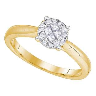14kt Yellow Gold Princess Round Diamond Cluster Bridal