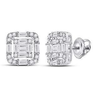 14kt White Gold Womens Baguette Diamond Cluster Fashion