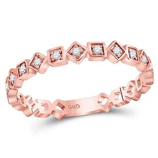 14kt Rose Gold Womens Round Diamond Squares Stackable