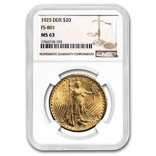 1925 $20 Saint-Gaudens Gold Double Eagle MS-63 NGC (DDR