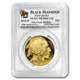 2016-W 1 oz Proof Gold Buffalo PR-70 PCGS (FS, Black