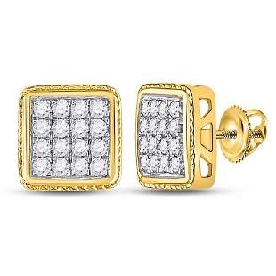 14kt Yellow Gold Mens Round Diamond Square Earrings 3/4