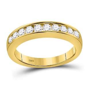 14kt Yellow Gold Womens Round Diamond Wedding Channel