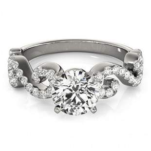 Natural 1.15 ctw Diamond Solitaire Ring 14k White Gold