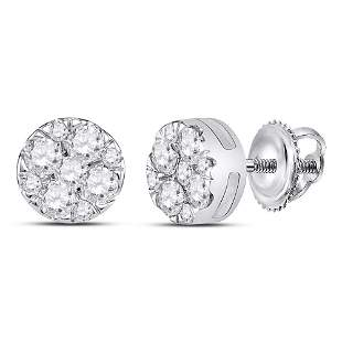 14kt White Gold Womens Round Diamond Fashion Cluster