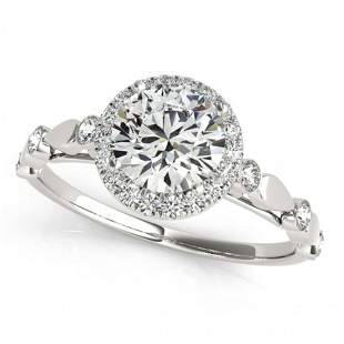 Natural 1 ctw Diamond Solitaire Halo Ring 14k White