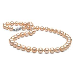 Pink Freshwater Pearl Necklace, 7.5-8.0mm