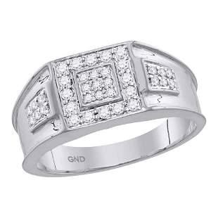 14kt White Gold Mens Round Diamond Square Ring 1/2 Cttw
