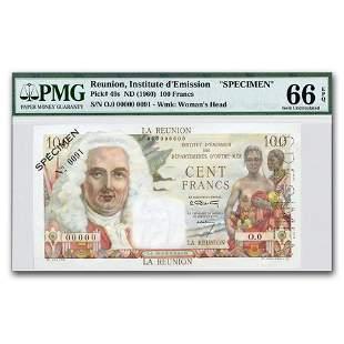 (1960) France Reunion Island 100 Francs CU-66 EPQ PMG
