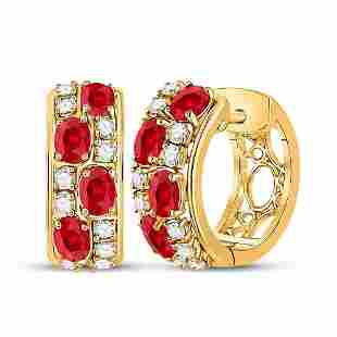 14kt Yellow Gold Womens Oval Ruby Fashion Hoop Earrings