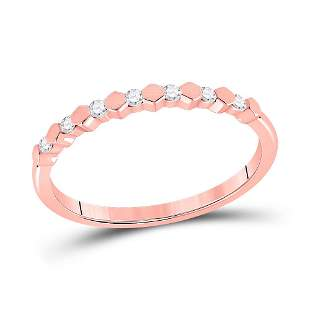 14kt Rose Gold Womens Round Diamond Stackable Band Ring