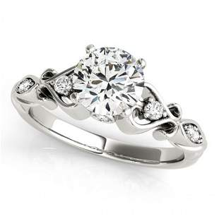 Natural 0.9 ctw Diamond Antique Ring 14k White Gold