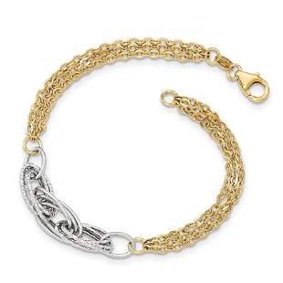14k Gold Two-tone Diamond Cut & Polished Fancy Link