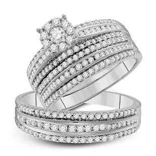 14kt White Gold His Hers Round Diamond Cluster Matching