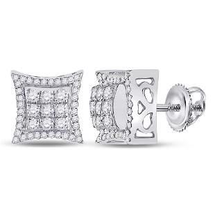 14kt White Gold Mens Round Diamond Kite Square Earrings