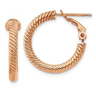 14k Rose Gold Twisted Round Omega Back Hoop Earrings -